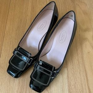 "Talbots black patent leather pumps 2 1/2"" heel"